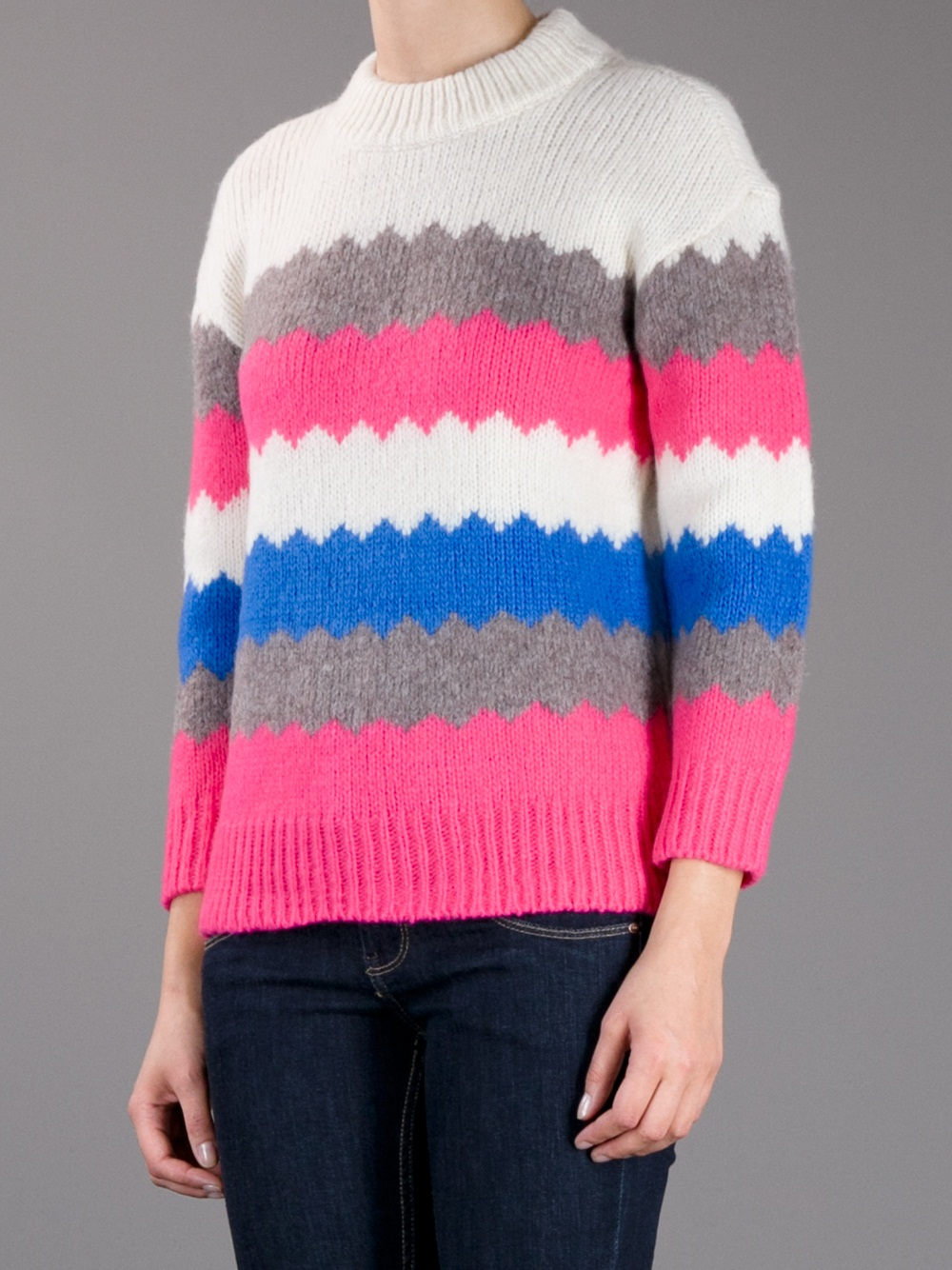 marc by marc jacobs birchmulti woolblend nikolai pullover in pink lyst. Black Bedroom Furniture Sets. Home Design Ideas