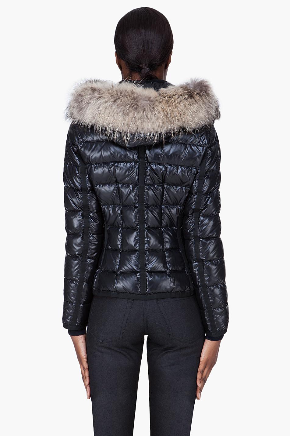 d3a89ddb2 Moncler Black Raccoon Fur Hood Armoise Jacket