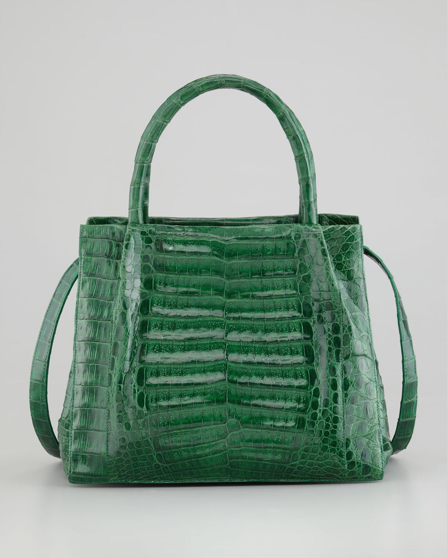 Nancy gonzalez crocodile box small tote bag kelly green in for Nancy gonzalez crocodile tote