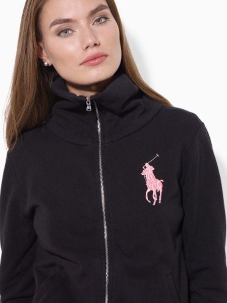 Ralph Lauren Pink Pony Zipfront Jacket in Black | Lyst