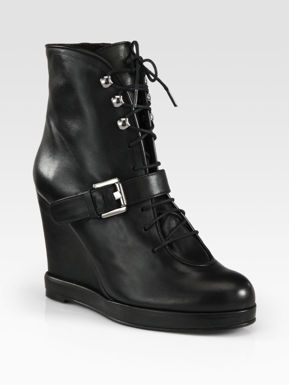 Lyst Surface To Air Leather Buckle Wedge Ankle Boots In