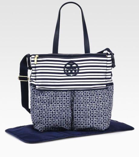 Tory Burch Mixedprint Nylon Diaper Bag in Blue (navy)