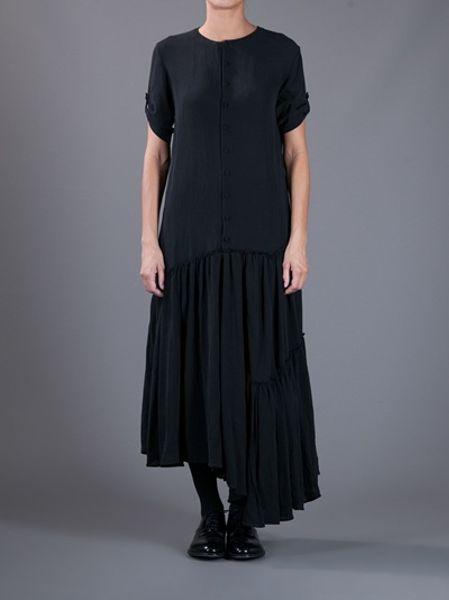 yohji yamamoto pleated skirt maxi dress in black lyst