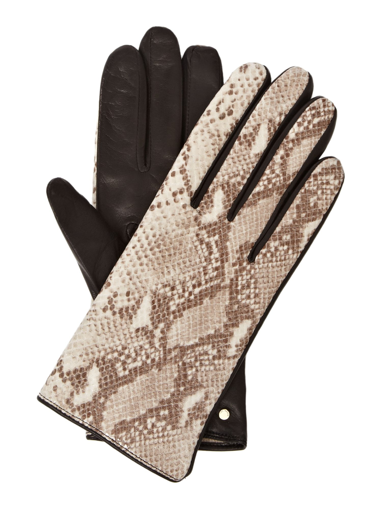 Ted Baker Leather Gloves With Snake Print Cuff In Beige