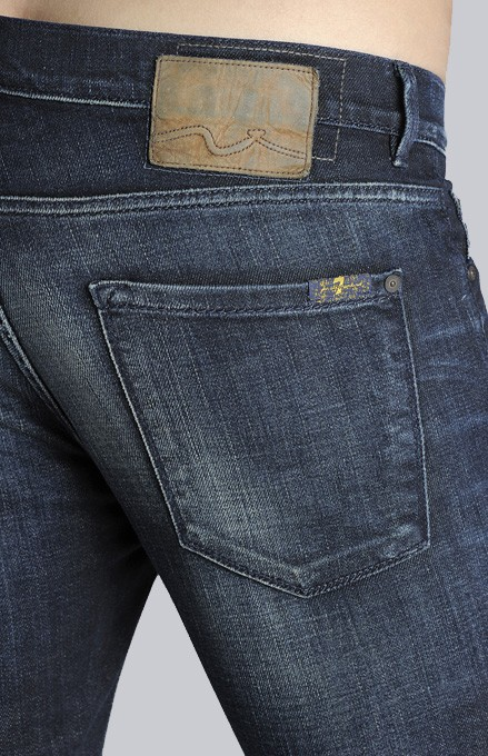 7 For All Mankind Trey Leather Jackron with Squiggle Rocky Valley in Denim (Blue) for Men
