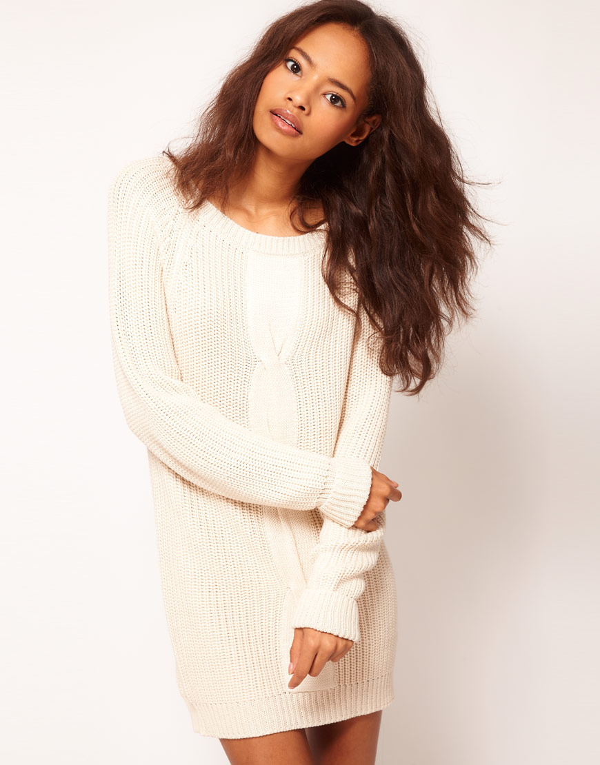 afd8b4ee58 Lyst - ASOS Collection Asos Cable Jumper Dress in White