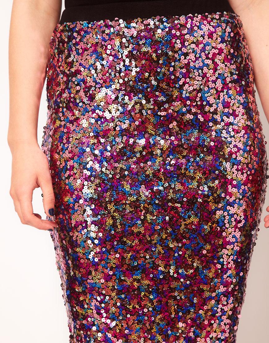 Lyst Asos Multi Sequin Pencil Skirt In Purple