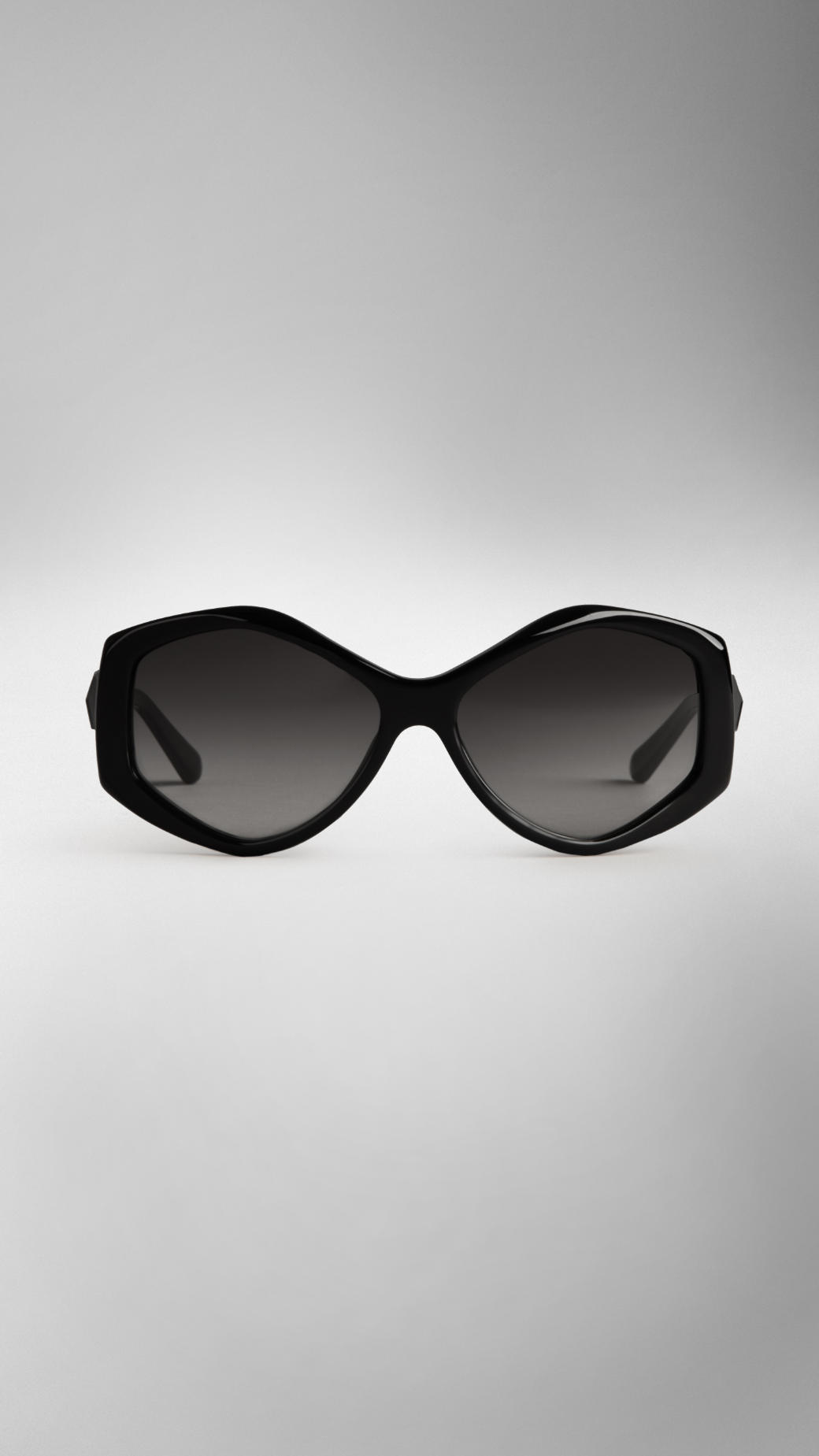 Burberry Faceted Hexagonal Sunglasses in Black