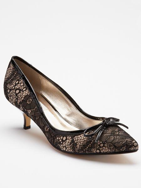Dune Argy Kitten Heel Shoes Black Lace in Black (black/lace