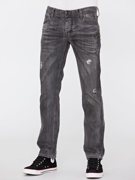 star raw mens attacc low straight jeans in gray for men medium aged. Black Bedroom Furniture Sets. Home Design Ideas