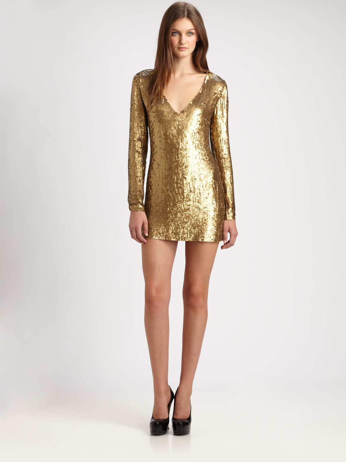 haute hippie vneck sequin dress in gold lyst