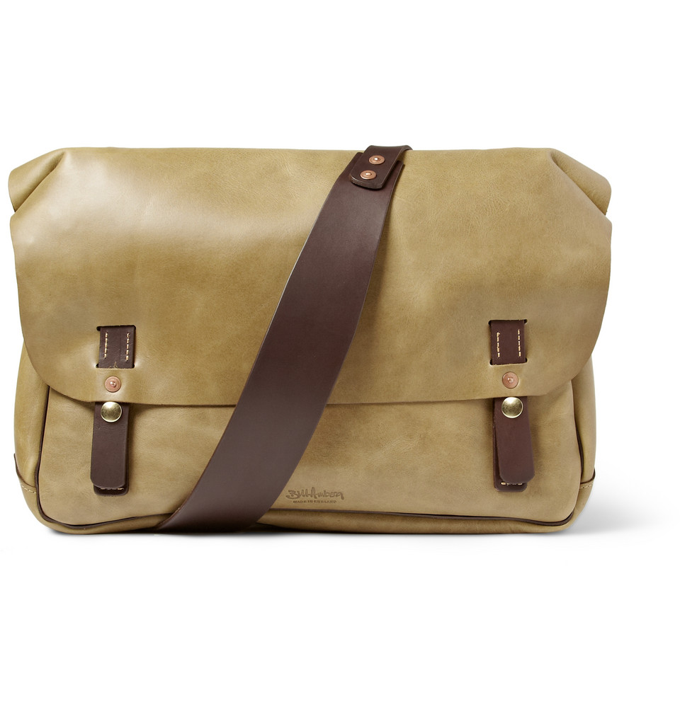 bill amberg hunter leather messenger bag in khaki for men green lyst. Black Bedroom Furniture Sets. Home Design Ideas