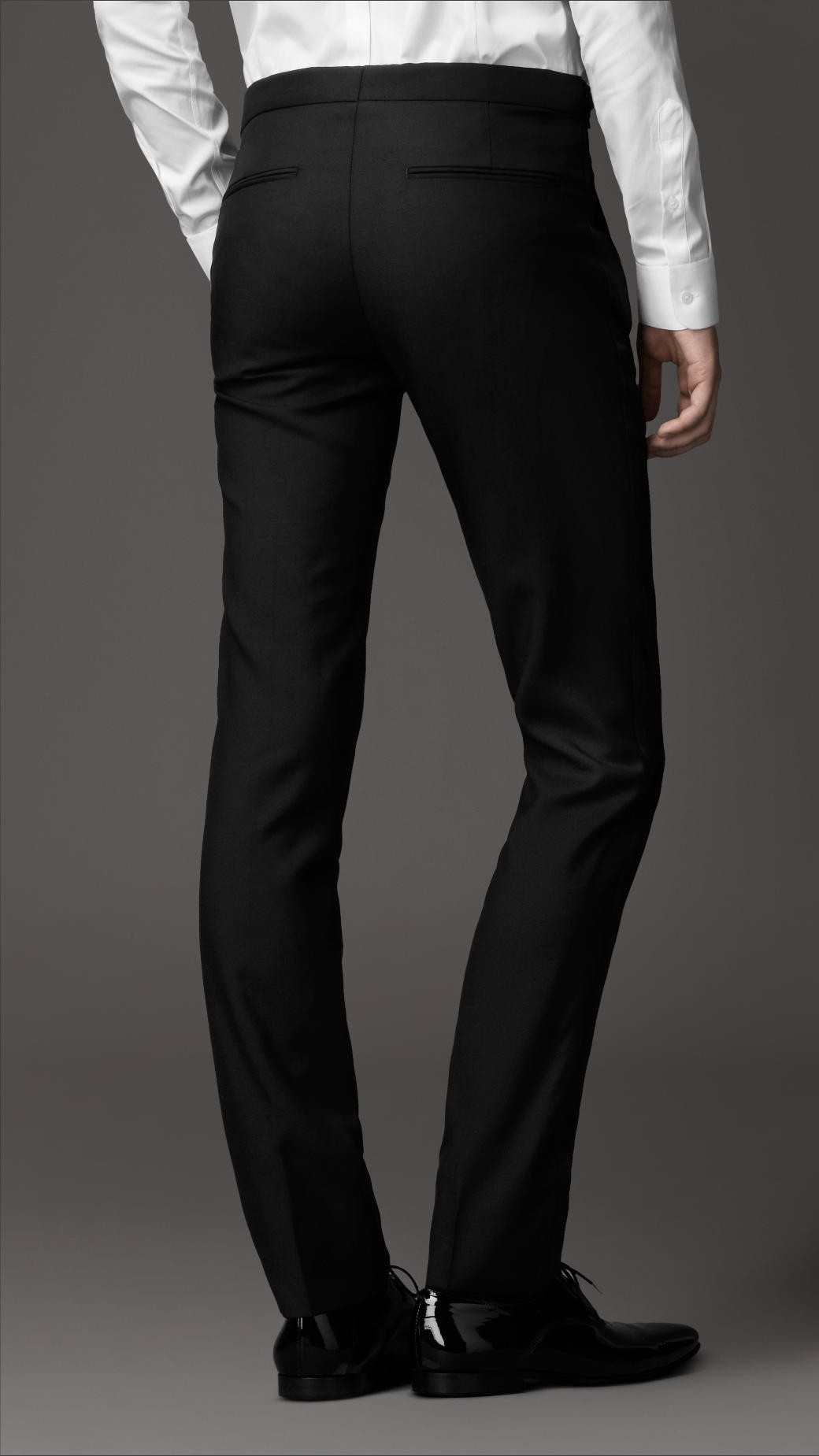 Burberry Slim Fit Evening Trousers in Black for Men | Lyst