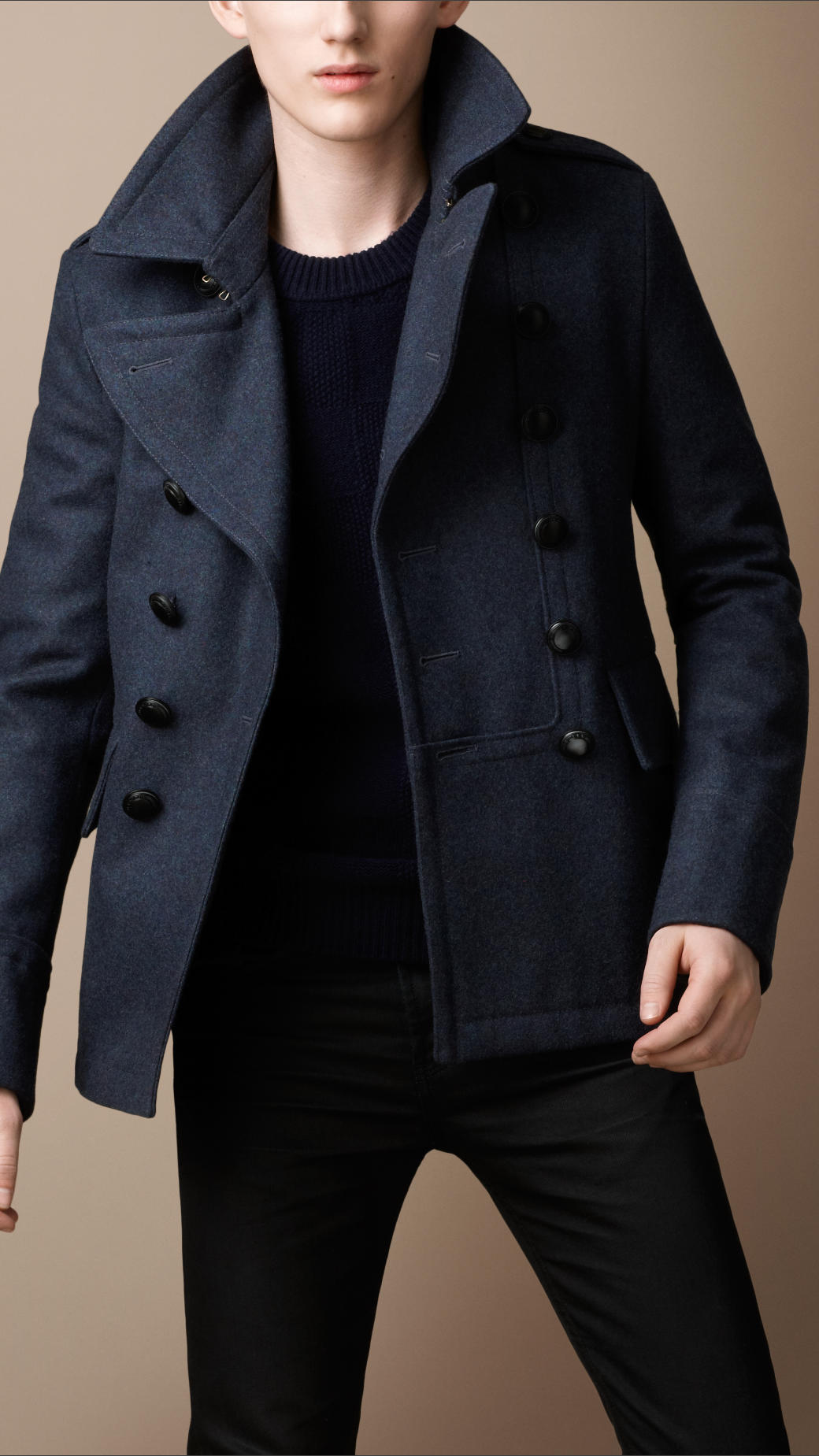 Burberry Brit Military Pea Coat In Navy Blue For Men Lyst