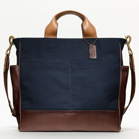 Coach Bleecker Legacy Canvas Utility Tote in Blue for Men (mahogany/navy)