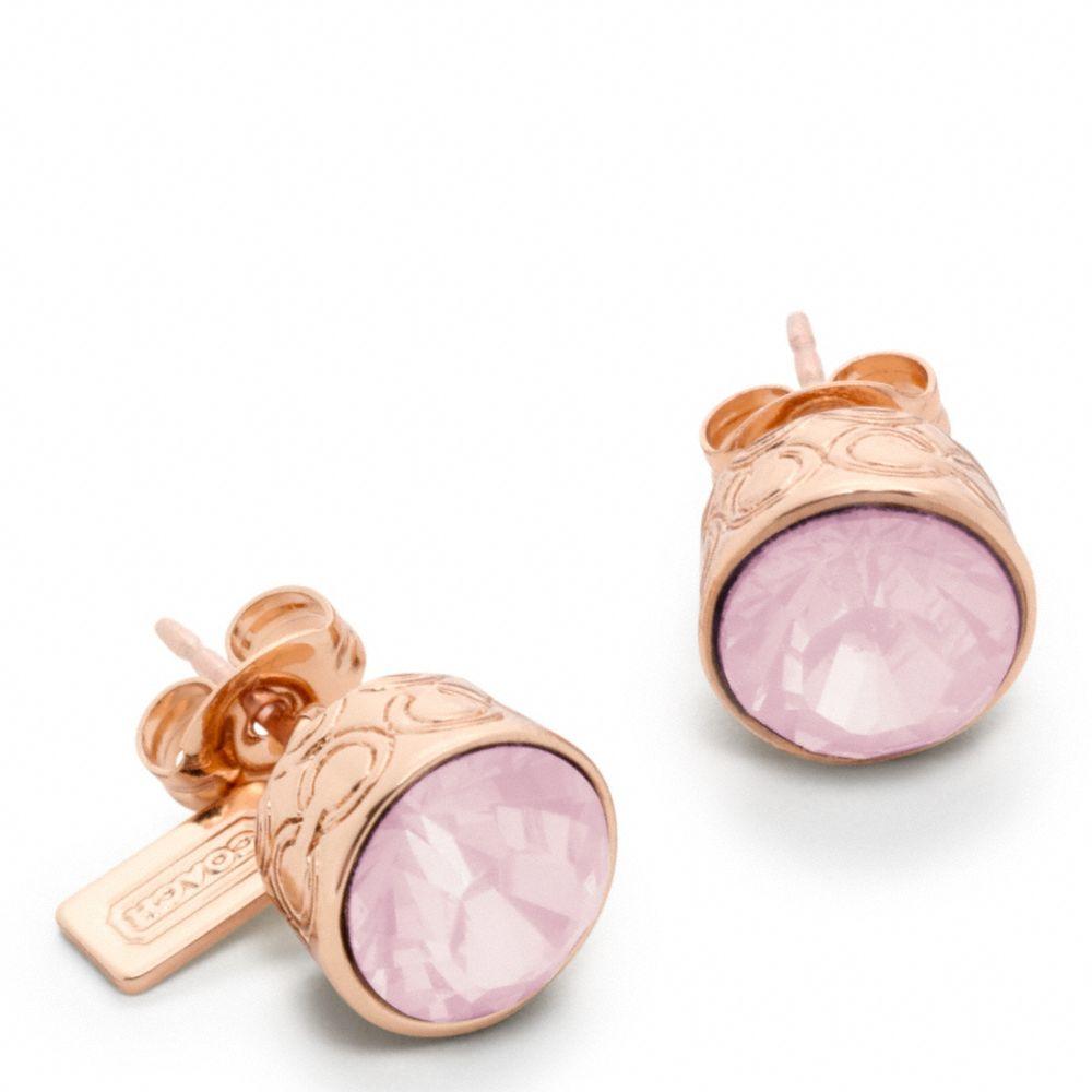 Coach Stone Stud Earrings In Pink Lyst