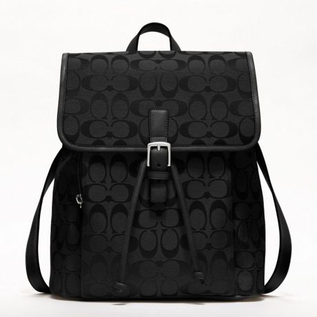 Black leather gloves asos - Coach Signature Backpack In Black Silver Black Lyst