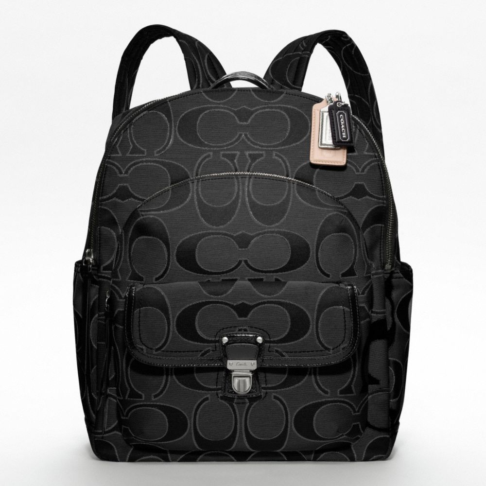 Coach Poppy Metallic Signature Sateen Backpack in Black | Lyst