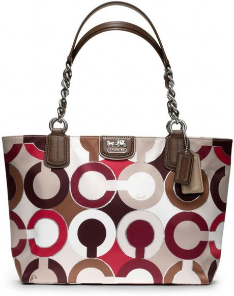 Coach Madison Graphic Op Art Metallic Tote in Multicolor (sv/red multi)
