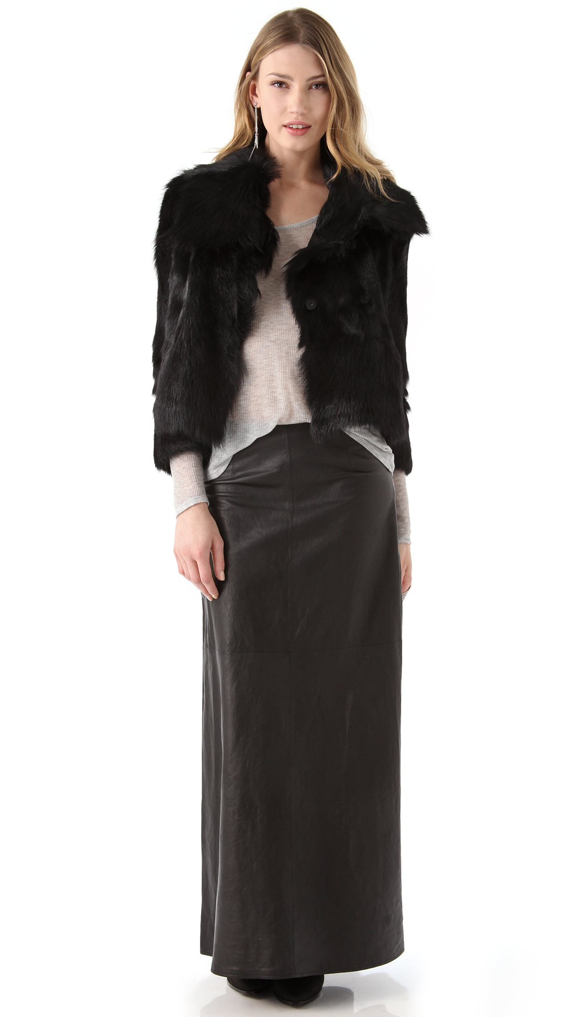 J brand Cameo Leather Maxi Skirt in Black | Lyst