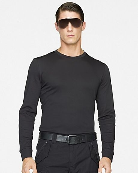 Ralph Lauren Black Label Longsleeved Leatherpatch Cotton Interlock Crewneck in Black for Men (polo black)