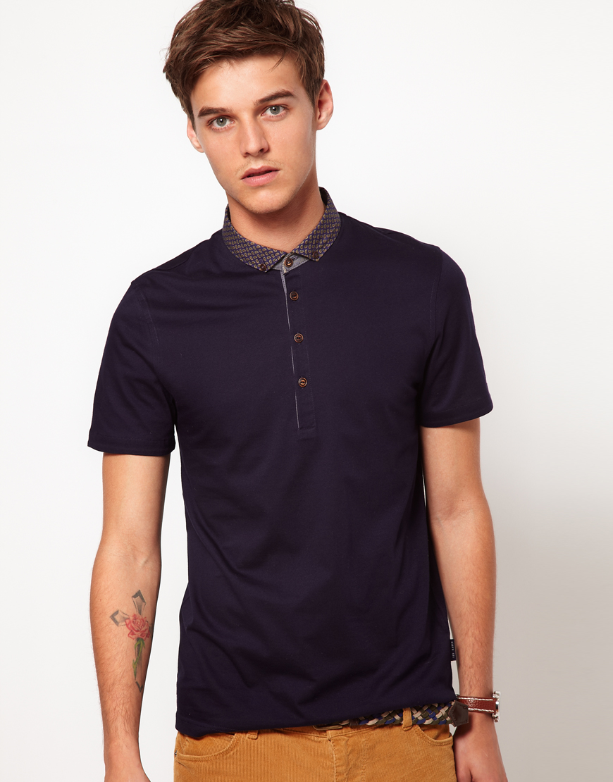 Ted baker polo shirt in blue for men lyst for Ted baker mens polo shirts
