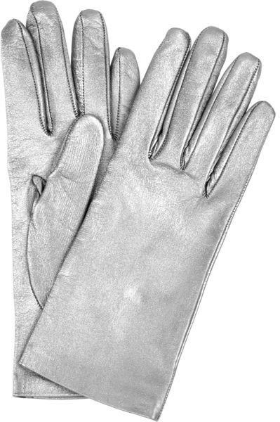 Saint Laurent Metallic Leather Gloves In Silver Lyst
