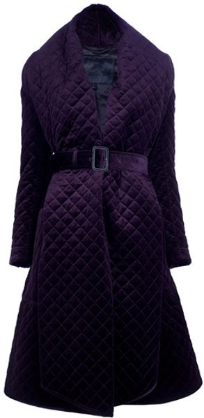 Burberry Prorsum Belted Quilted Coat in Purple (bordeaux)