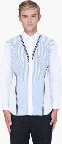 Comme Des Garçons White Striped Patchwork Front Shirt in White for Men - Lyst