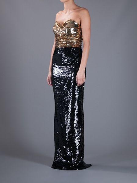 Dolce Amp Gabbana Sequin Strapless Dress In Gold Black Lyst