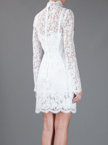 Dolce Amp Gabbana Lace Dress In White Lyst