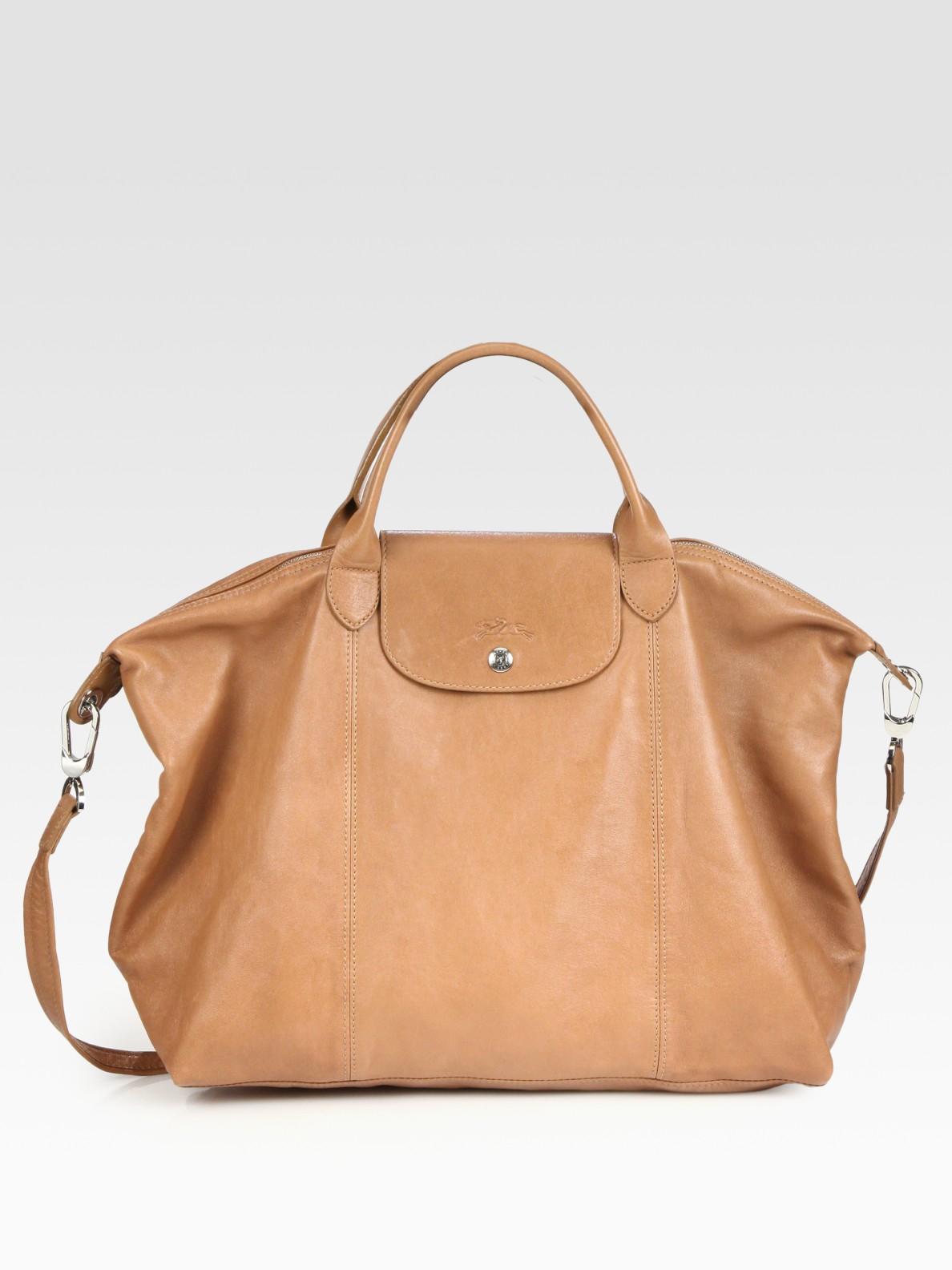 Lyst - Longchamp Le Pliage Cuir Large Handbag in Brown 4dc9a5fb06ca6