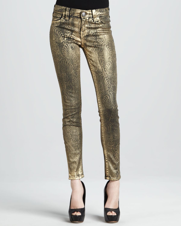 f4378ba5f112a Lyst - True Religion Casey Gold Foil Printed Skinny Jeans in Metallic