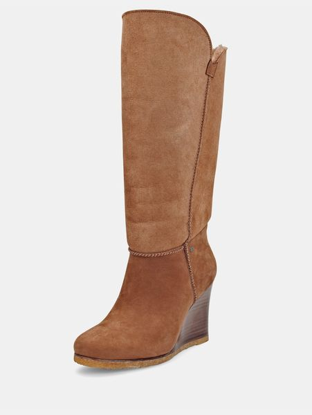 ugg apprelle leather wedge boots in brown chestnut lyst