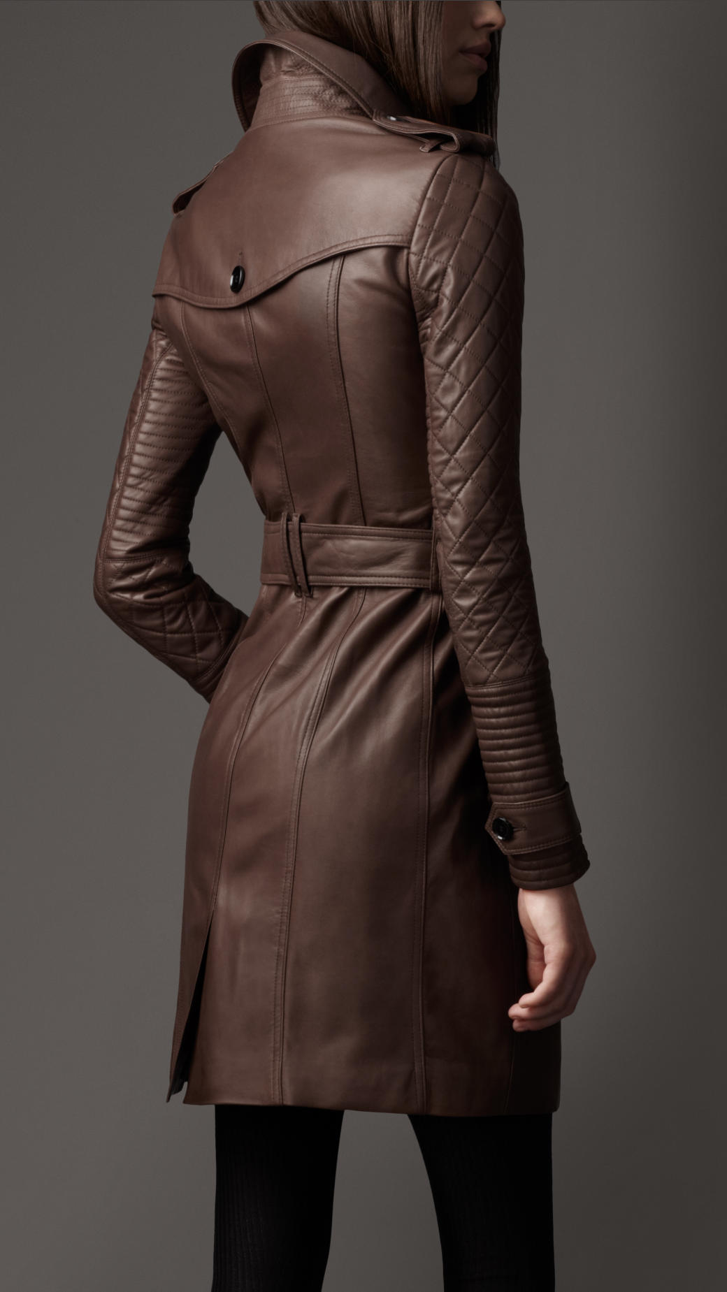Burberry Long Leather Quilted Sleeve Trench Coat in Brown