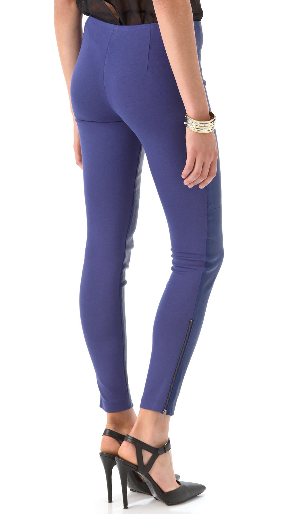 Catherine Malandrino Zip Up Leather Pants In Cobalt Blue