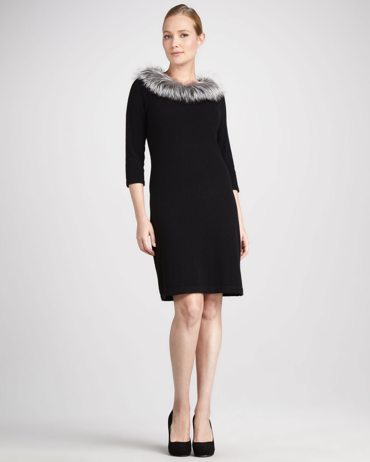 Ginia Cashmere Gowns Wrap Gown: Neiman Marcus By Sofia Cashmere Furtrim Cashmere Dress In