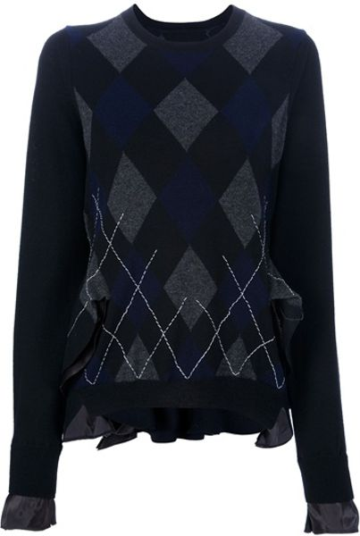 Sacai Argyle Sweater in Blue (black) - Lyst