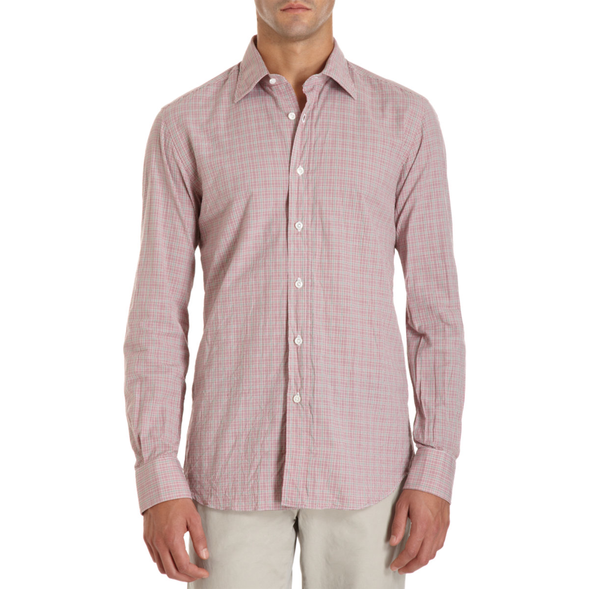 Lyst salvatore piccolo gingham windowpane check dress for Pink checkered dress shirt