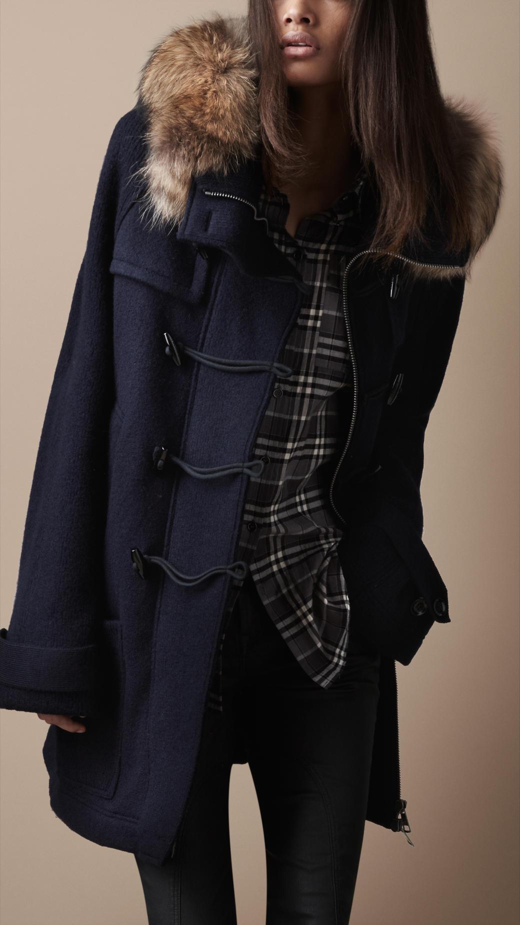 Burberry brit Fur Trim Knitted Duffle Coat in Blue | Lyst