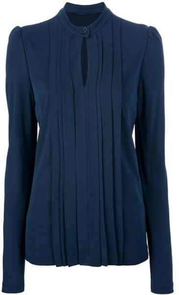 Burberry Long Sleeve Key Hole Blouse in Blue (navy)