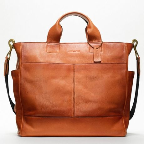 Coach Bleecker Legacy Leather Utility Tote in Brown for Men (rust)