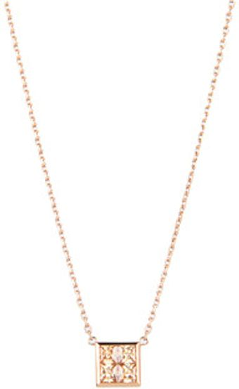 Michael Kors Very Hollywood Cz Square Pendant Necklace - Lyst