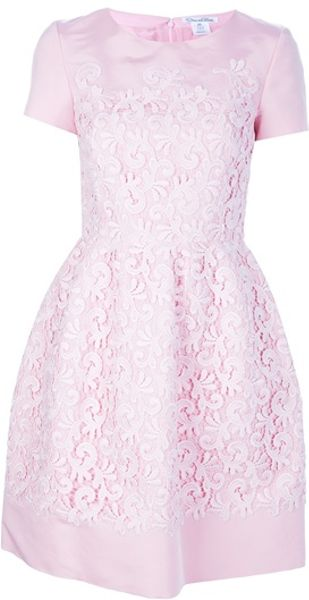 Oscar De La Renta Flared Lace Overlay Dress in Pink