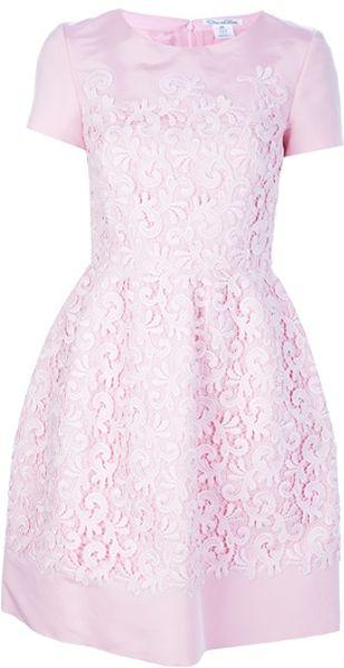 Oscar De La Renta Flared Lace Overlay Dress in Pink