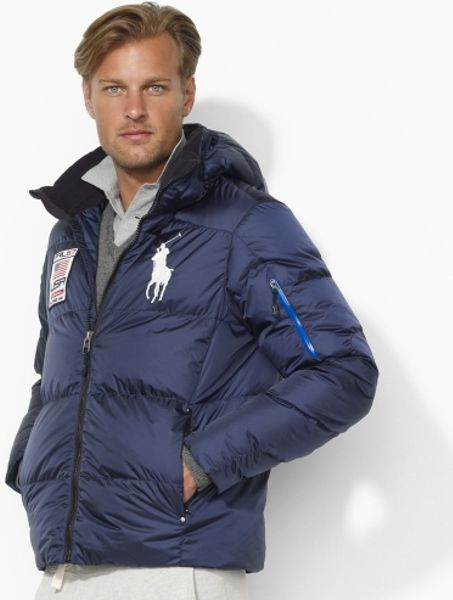 polo ralph lauren big pony down jacket in blue for men aviator navy lyst. Black Bedroom Furniture Sets. Home Design Ideas