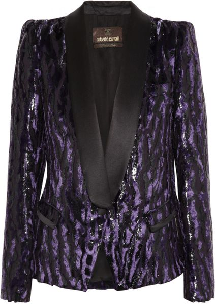 Roberto Cavalli Animalprint Brocade Tuxedo Jacket in Purple (animal)
