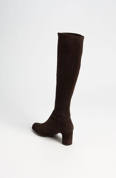 stuart weitzman chicboot stretch boot in brown cola suede