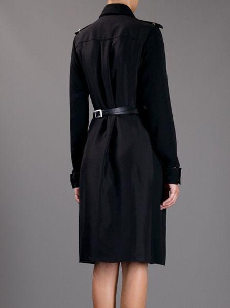 Victoria Beckham Belted Coat In Black Lyst