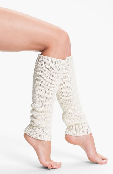 Dkny Chunky Knit Leg Warmers In White (polar) | Lyst